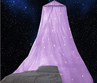 BCBYou Bed Canopy with Fluorescent Stars Glow in Dark for Baby, Kids, Girls Or Adults, Anti Mosquito As Mosquito Net Use t...