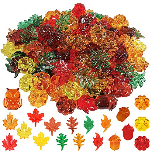 Winlyn 340pcs Mini Fall Leaves Pumpkin Acorns Owl Acrylic Autumn Table Scatter for Fall, Autumn and Thanksgiving