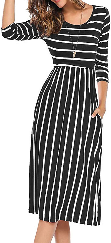Anienaya Women's Stripe Elastic Waist 3 4 Sleeve Round Neck Casual Knee Length Casual Dresses with 2 Slant Pockets