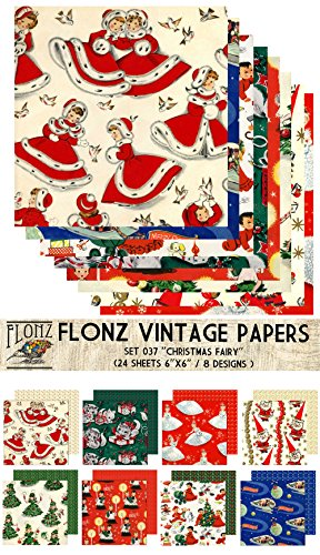 """Paper Pack (24sh 6""""x6"""") Christmas Fairy FLONZ Vintage Paper for Scrapbooking and Craft"""