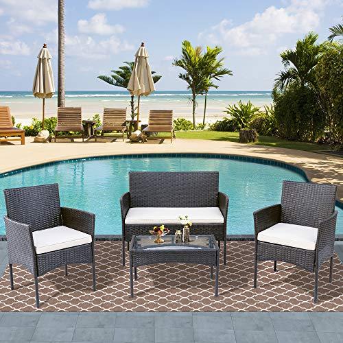 Merax Polyrattan Rattan Gartenmöbel Set Balkonmöbel Sitzgruppe Garten Lounge Set Outdoor Essgruppe Gartenlounge - Mit 2-er Sofa, Singlestühle, Tisch und Weiß Sitzkissen