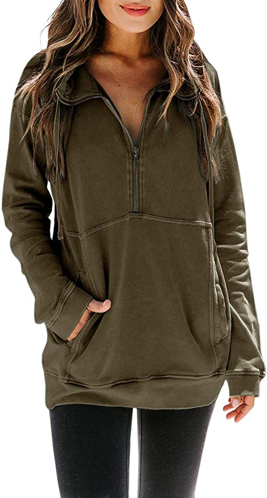 Womens Plus Size Half Zip Sweatshirt Long Sleeve Lightweight Casual Loose Pullover with Pocket