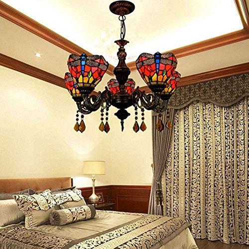 Hanglamp Shades Pastoral glas in lood woonkamer eetkamer slaapkamer kroonluchter klassieke bar rood creatieve 5 hoofd kroonluchter