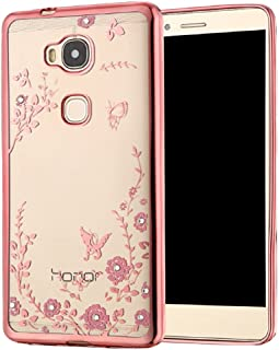 Huawei honor 5X Case honor 5X Case Luxury Stylish Design Electroplated Slim Fit Lightweight Ultra Thin Metallic luster TPU Case Cover for Huawei honor 5X - Flower Rose Gold