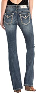 Miss Me Women's Settle The Score Embroidered Border Boot Cut Jeans