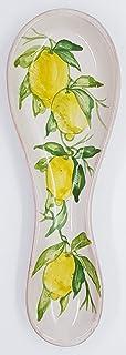 Poggiacucchiaio Linea Limoni dimensioni 24 x 8,5 cm Realizzato a Mano Le Ceramiche del Castello Made in Italy