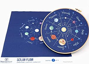Planets Embroidery Kit, Solar System hand embroidery panel pre-printed fabric for hand embroidery, Space Embroidery Pattern Design