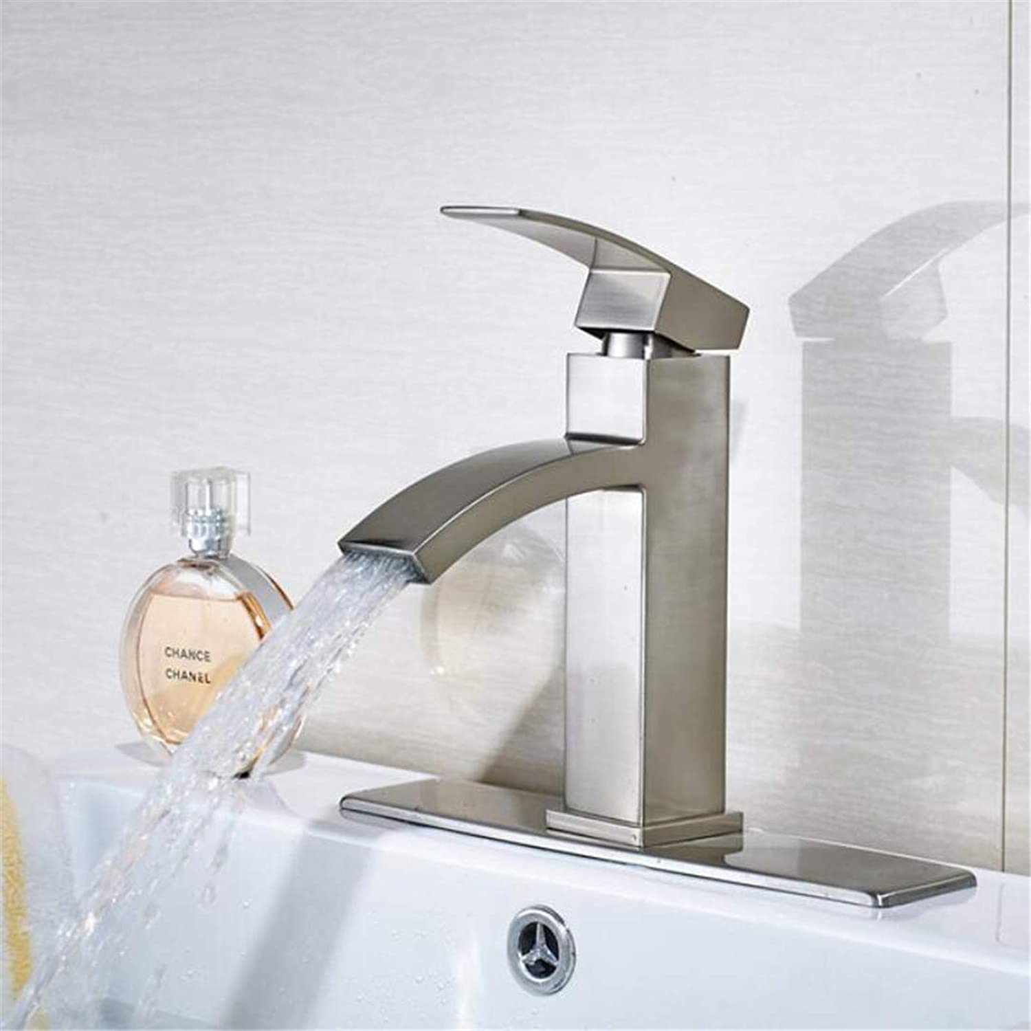 Faucet Washbasin Mixer Nickel Brushed Finished Double Handles Bathroom Sink Faucet Widespread 3Pcs Mixer Tap