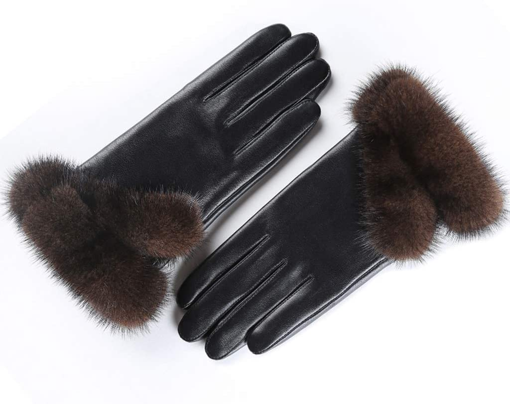 Moolo Leather Gloves, Ladies Winter Touch Screen Thick Warm Short Bike Thickening Outdoor