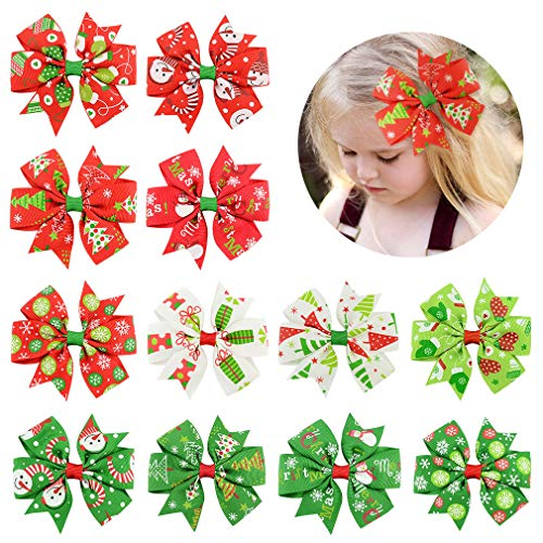 12 Pcs Hair Bows Clips 3' Boutique Alligato Christmas Bow Grosgrain Ribbon Accessories For Girls Baby Toddlers Kids