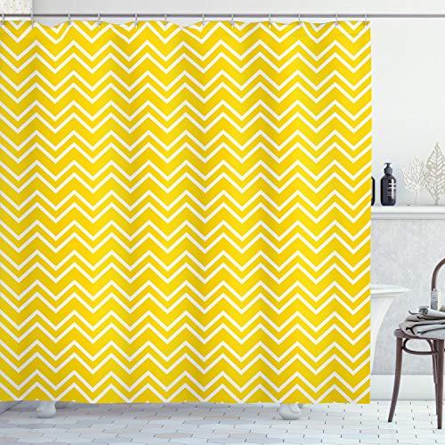 ABAKUHAUS Gelb Duschvorhang, Chevron-Muster-Gelb, Moderner Digitaldruck mit 12 Haken auf Stoff Wasser & Bakterie Resistent, 175 x 220 cm, Gelb & Weiß