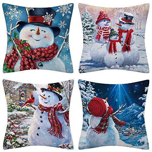Christmas Throw Pillow Covers 18x18 Winter Snowman Cotton Linen Xmas Decorative Throw Pillow Cases Zippered Square Pillow Covers for Home Living Room Bedroom Couch Sofa Party Christmas Decors Set of 4