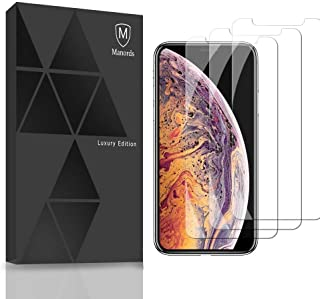 Manords Compatible iPhone X iPhone Xs Screen Glass Protector, 5.8-Inch, 9H Tempered Glass [3 Packs] with Extra Phone Cases [2pack]