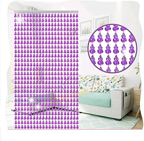XD Panda Cortina de Cristal,Cortinas de Cuentas de Cristal Cortina de Puerta Transparente Material de plástico acrílico Brillante Decoración Ventana al Aire Libre Espaciado de 3 cm (Color: púrpura, t