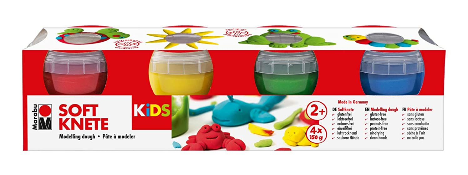 Marabu 0312000000001 Kids Modelling Clay 4 x 150 g in Yellow, Red, Blue and Green, Multi-Coloured