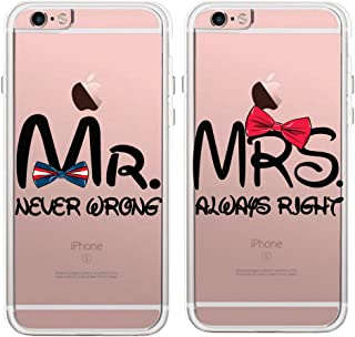 Lovers Couples Matching Partners Pairs MR. Never Wrong & MRS. Always Right Clear Soft TPU Rubber Protective Covers Cases for Apple iPhone 6 6S 7 8 Plus