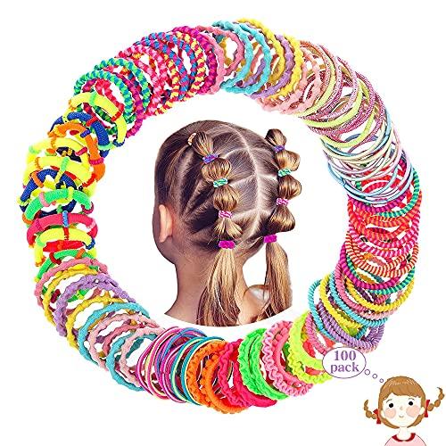 100 Stück Haargummis Mädchen Set, XCOZU Kinder Baby Haarschmuck Mädchen Klein Haargummi Mini Bunt, Elastische Haarbänder Mädchen Haarband Gummibänder Pferdeschwanz Dünn Zopfgummis 10 Stile Scrunchies
