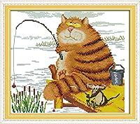 クロスステッチキット-猫釣り-DIY大人の子供初心者クロスステッチ刻印刺繡、室内装飾、40 x 50 cm(11 CTプレプリントキャンバス)