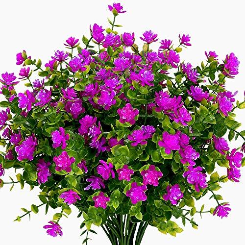Boic 10 pcs Plantas Verdes Artificial Hojas Arbusto para Exterior, Retirable, Artificiales...