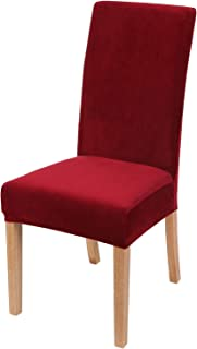 Best Smiry Velvet Stretch Dining Room Chair Covers Soft Removable Dining Chair Slipcovers Set of 2, Wine Red Review