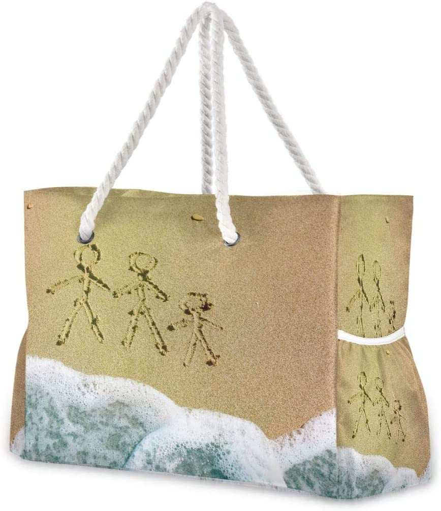 Superlatite Large Beach Bags Totes Canvas Tote Shoulder Very popular Family Drawing Bag O
