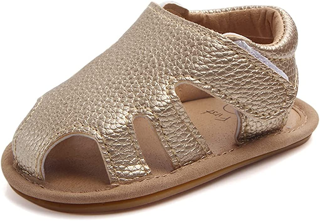 MiYuebb Baby Toddler Infant Boys Girls PU Leather Soft Sole Closed Toe Summer Beach Sandals