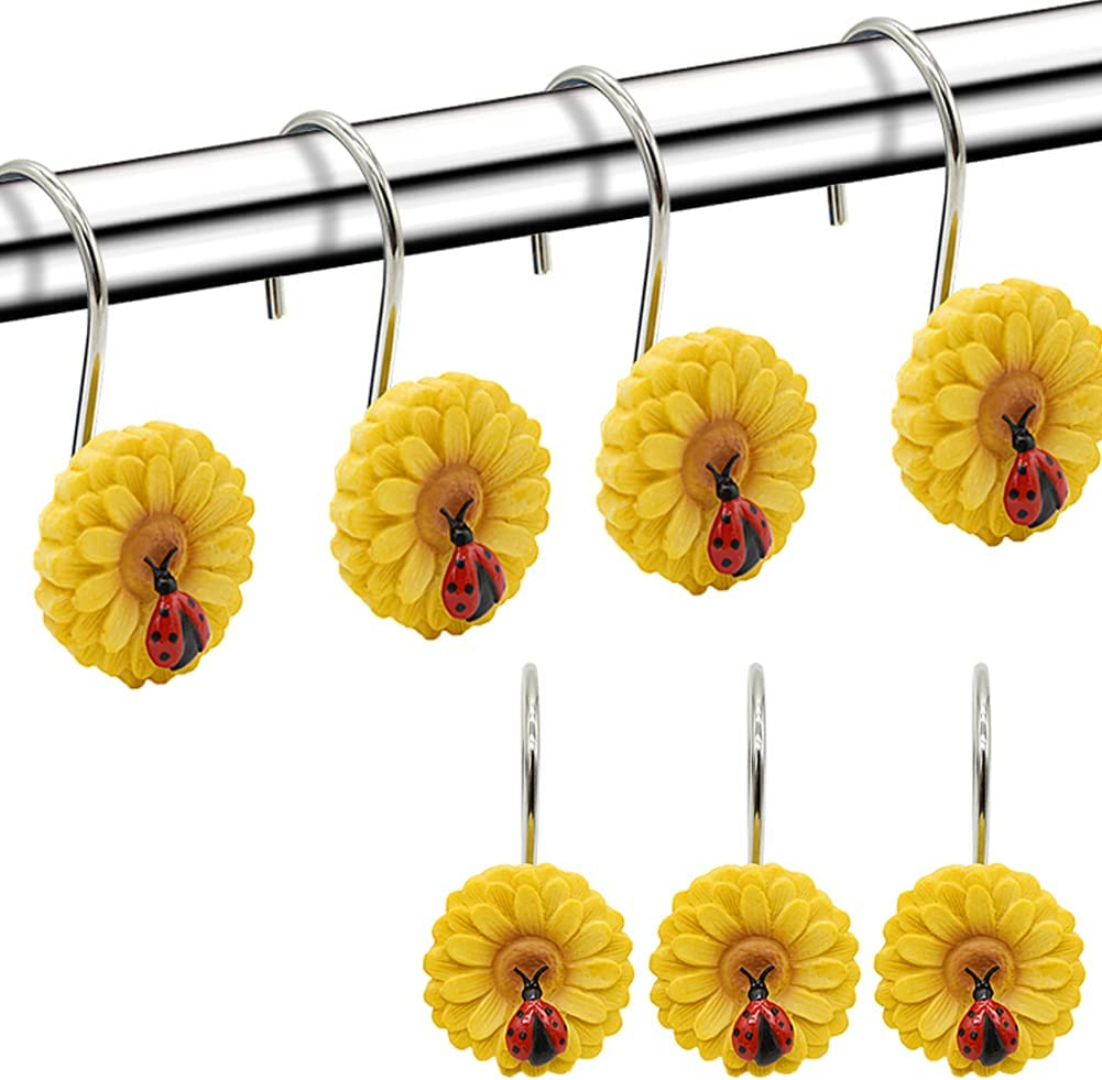 Sunflower Free shipping on posting reviews Shower Curtain Hooks 12PCS Rust Anti Quantity limited Showe Decorative