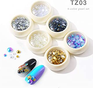 Mezerdoo 6 Colors Pearls Decoration AB Pearls for Nails 3D Nail Art Jewelry Accessories Half Round Flat Back Imitation Pearl Cabochon for Craft DIY Phone Nail Making