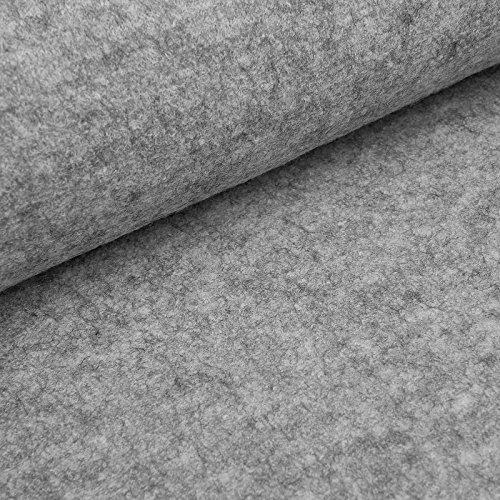 (23,98€/m) Fabian - Kochwolle/Strickloden - hochwertiger Wollstoff aus 100% Schurwolle (per 0,5 m, grau-melange)