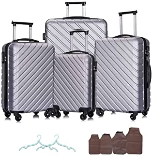 Apelila Set of 4 Carry On Luggage Sets Travel Suitcase Spinner Hardshell Lightweight Free Gift Inside (Silver)