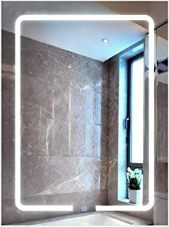 XZPENG Bathroom Wall Mirror Light, 600 * 800mm Elegant Simple Modern Illuminated LED Rectangle Touch Sensor Wall-Mounted Mirrors (Color : Warm light)