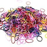 XCOZU 1000 Stück Gummibänder Klein,Mini Haargummi Mädchen Elastisches Gummiband Gummiringe Haar Bänder Klein Gummiring,Multicolor Zopfgummis Loom Bänder Kleine Baby Kinder Haargummis