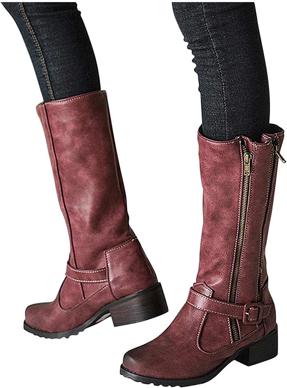 Hbeylia Boots For Women Vintage Leather Steel Toe Chunky Block Mid Heels Mid Calf Combat Boots With Side Double Zipper Retro Fashion Casual Motorcycle Riding Tall Boots Winter Shoes For Ladies