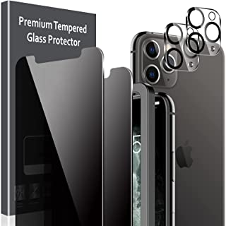 4 Pack LK 2 Pack Anti Spy Privacy Tempered Glass Screen Protector + 2 Pack Camera Lens Protector for iPhone 11 Pro Max 6.5...