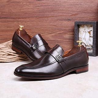 Kirabon Calzado elástico de Cuero de Gamuza de los pies de los Hombres Zapatos de Negocios de Costura Finos Decorativos de Negocios (Color : Marrón, Size : 42)