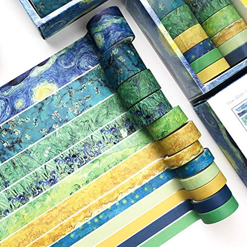 Washi Tape Set of 12 Rolls,Van Gogh Starry Night Decorative Green Leaves Floral Blue Yellow Washi Masking Tape Sets for Craft,Kids,Scrapbook,Bullet Journal,DIY,Gift Wrapping