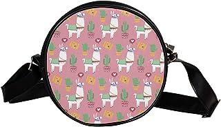 COOSUN Alpaka-Muster, runde Umhängetasche, Schultertasche, Handtasche, Handtasche, Umhängetasche, Schultertasche für Kinde...