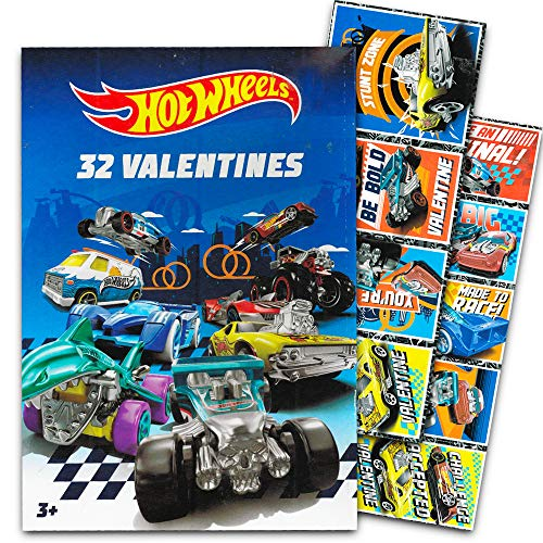Hot Wheels Valentines Day Cards - Box of 32 Cards