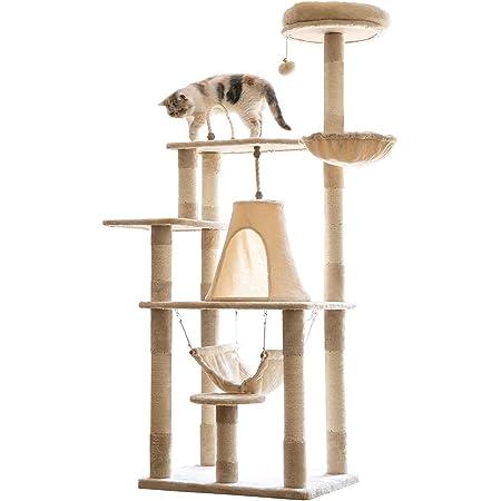 Mwpo 富士山ようなハウス キャットタワー 猫タワー 大型猫 麻紐 172cm 巨大サイズ 2つハンモック 匂いなし 多頭飼い 転倒防止 安定性抜群 022A