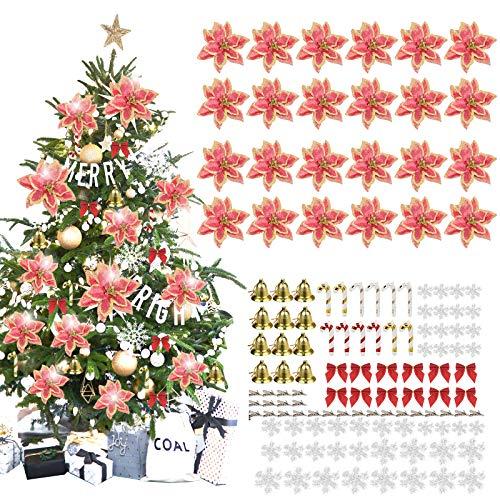 MMTX 120 Adorno de Árbol de Navidad, Flores Artificiales de Navidad Copos de Nieve, Lazos, Campanas, Bastones pequeños para Decoraciones de árboles de Navidad, Rojo