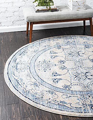 Unique Loom La Jolla Collection Tone Traditional Round Rug, 12 Feet 2 Inch, Blue/Ivory