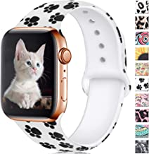Haveda Floral Bands Compatible for Apple Watch 40mm 44mm Series 4 Series 5, Soft Silicone Pattern Printed iWatch bands 38mm 42mm women Comfortable Sport Wristbands for Apple watch, iWatch Series 3/2/1