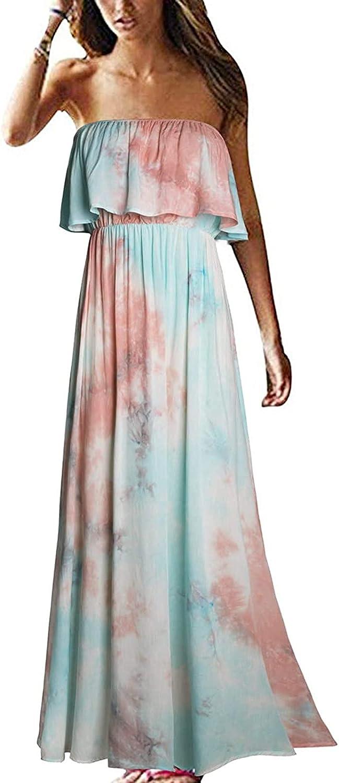 Satiable Long Dress for Women, Bohemian Printed Ruffle Tube Top Dress Strapless Off Shoulder Summer Swing Beach Dress