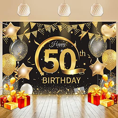 Geburtstagsbanner 50, 50 Geburtstag Banner Schwarz Gold, Banner 50. Geburtstag Deko für Frau Mann, Extra Große Schild 50 Geburtstag Dekoration
