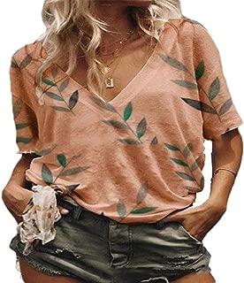 MogogoWomen V Neck Plus Size Short Sleeve Casual Floral Print Top Shirt