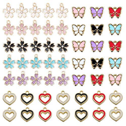 Gativs 140 Pezzi Ciondoli per Creazione di Gioielli Farfalla Fiore Ciondoli Ciondolo Charm Smaltati Ciondolo Pendenti Ciondoli per Creazione di Gioielli Fai-Da-Te