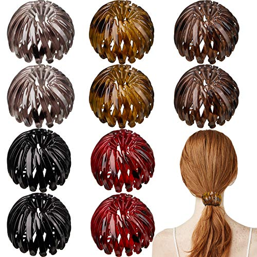 10 Pieces Birds Nest Hair Clip Expandable Ponytail Holder Vintage Hairpin Retro Retractable Hair Clip Hair Loop Hair Accessories for Girls Women (Light Coffee, Black, Green Coffee, Red, Red Coffee)