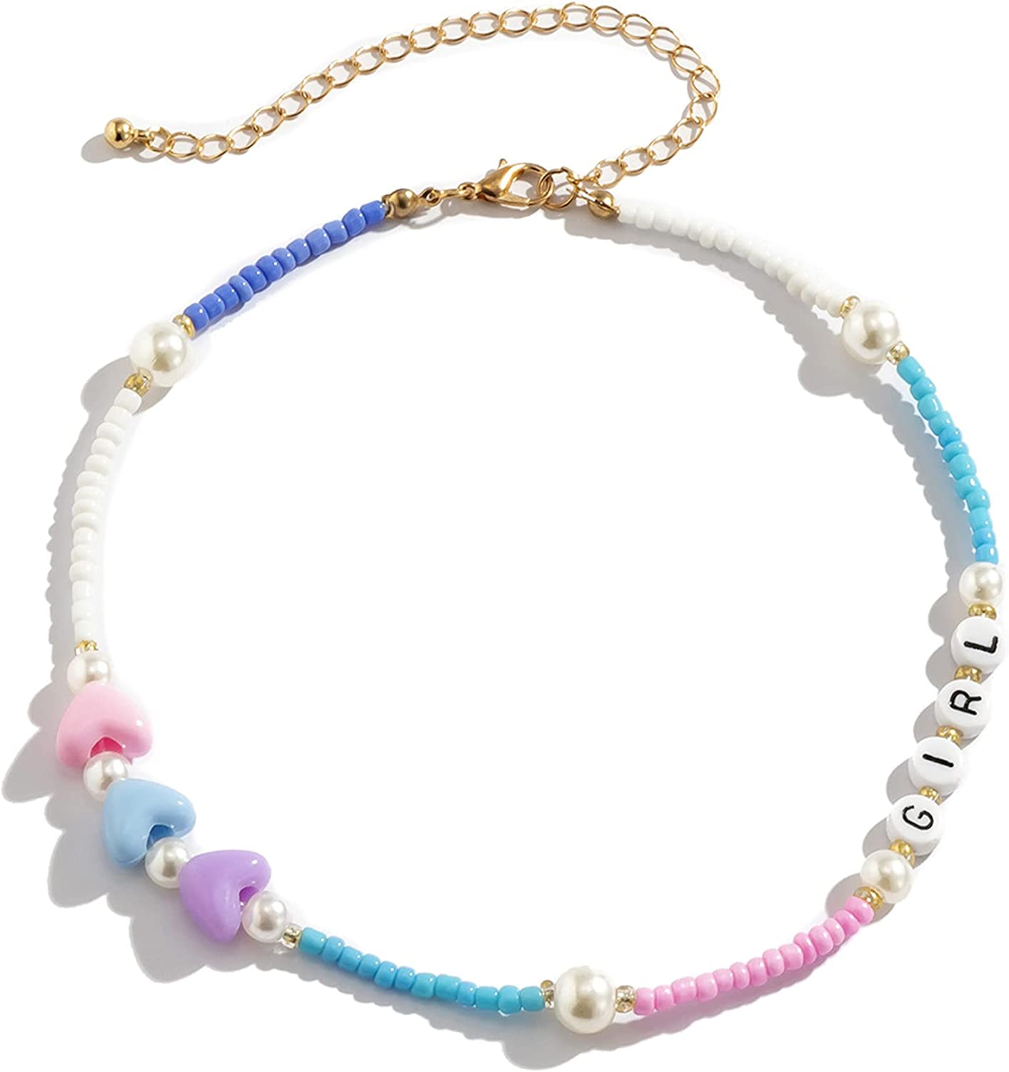 Beaded Choker Necklace for Women y2k Jewelry Aesthetic Colorful Beaded Necklace Boho Cute Beach Necklace Jewelry Gifts for Women Girls