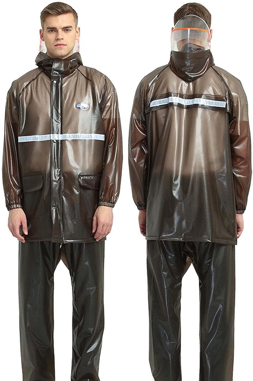 FHGH 2PCS Adult Split Raincoat, PVC Reflective Raincoat and Rain Pants Suit, Detachable Brim Design, for Fishing/Cycling,A,XXLarge