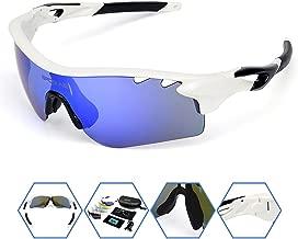 SPOSUNE Polarized Sports Sunglasses OTG Glasses with 5 Set Interchangeable Lenses for Men Women PC Unbreakable Frame for Cycling Running Fishing Golf Baseball Glasses